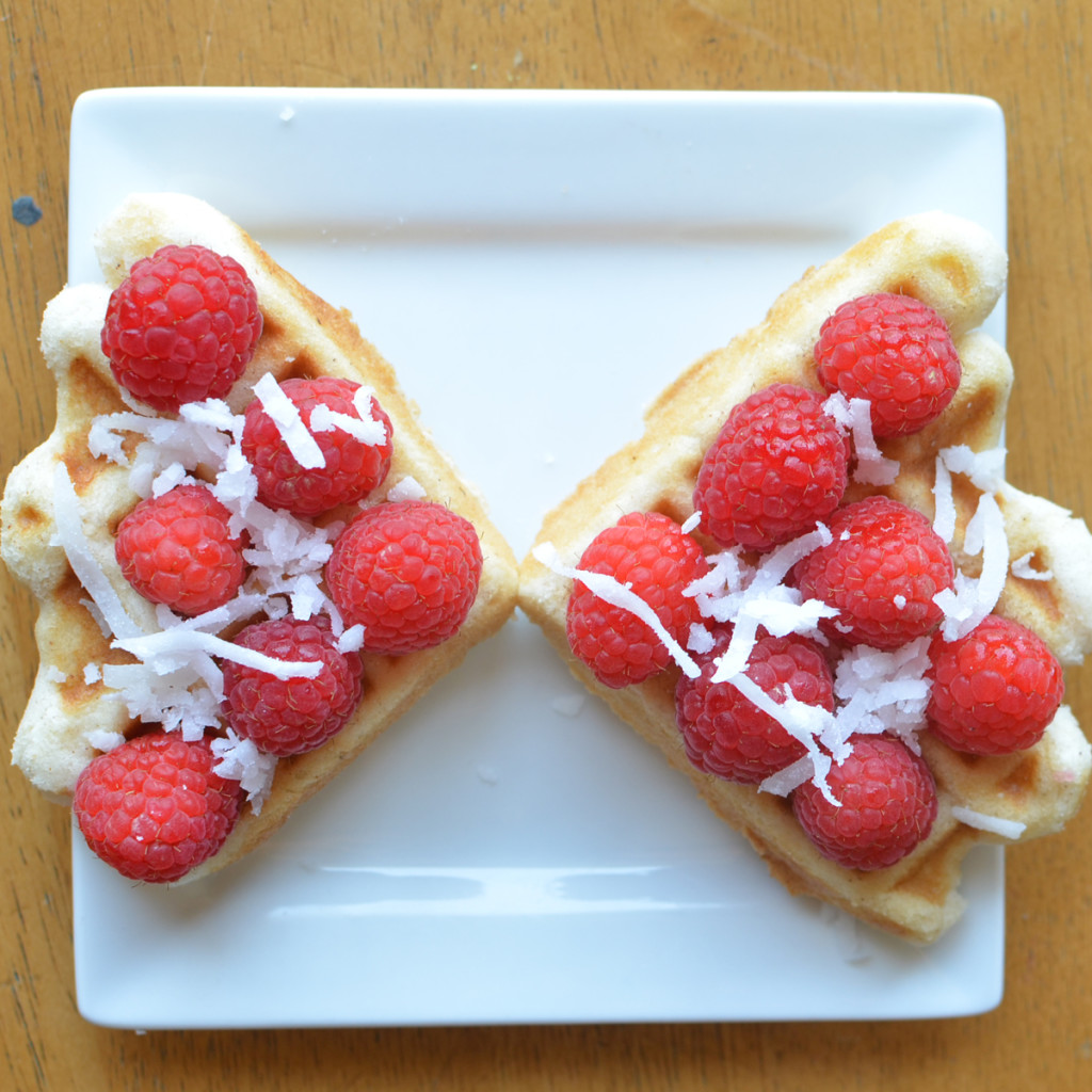 raspberry cocont waffles