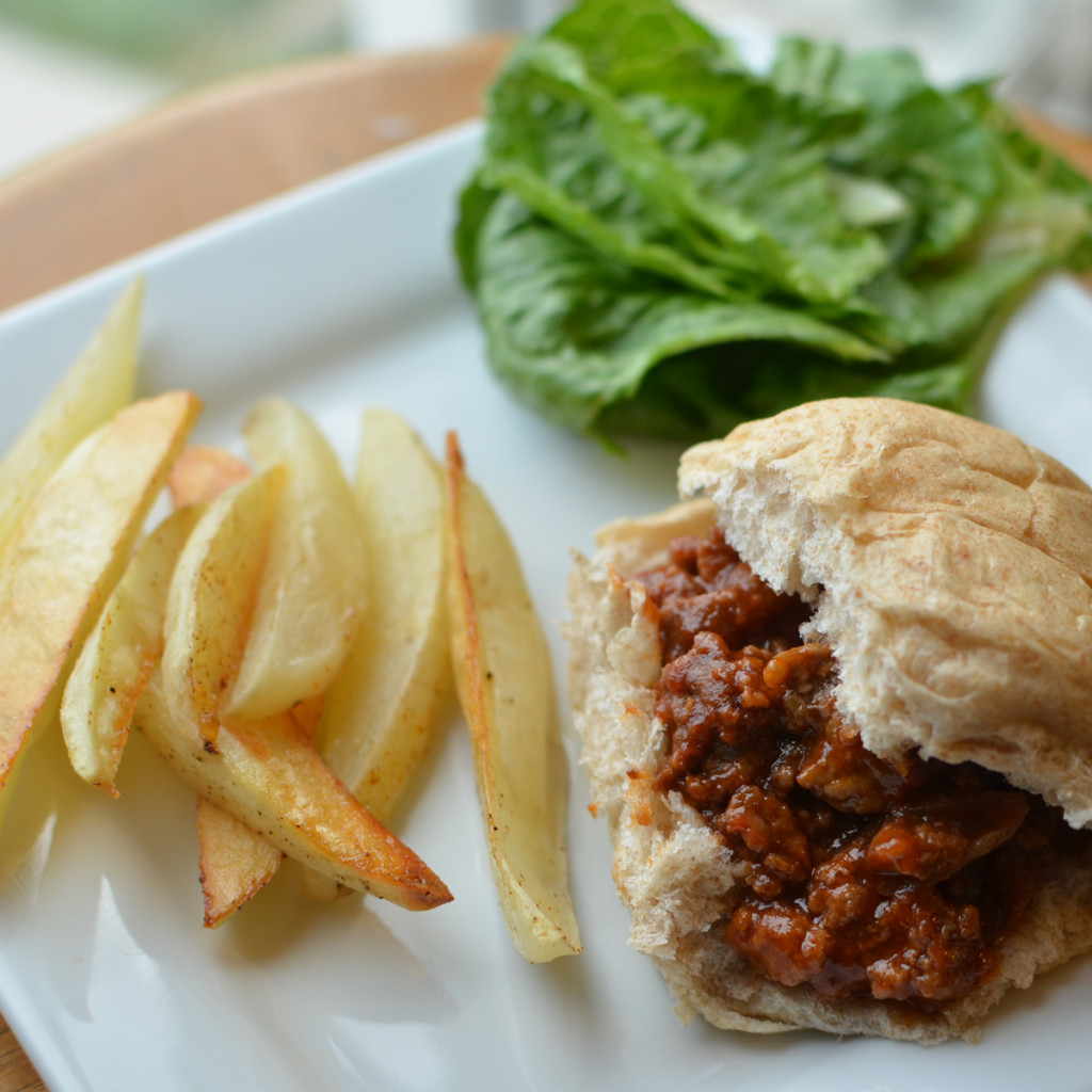 sloppy joes and potato wedges