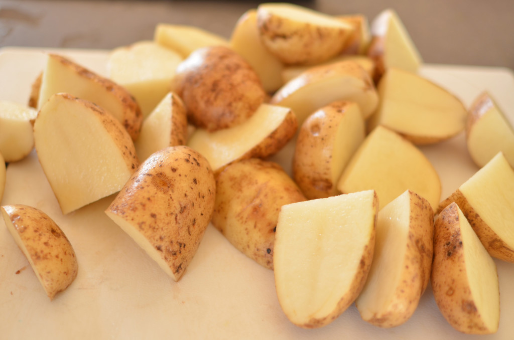 quartered potatoes