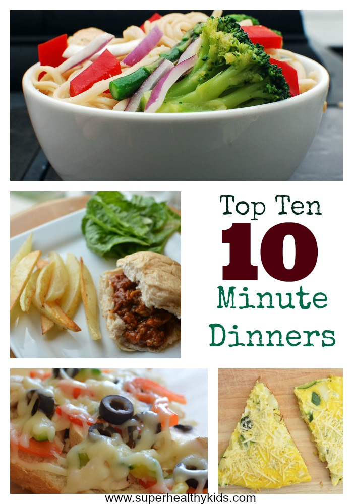 Top 10 Ideas for 10 Minute Dinners. Save this post or write these meals down. They've saved us so many times!