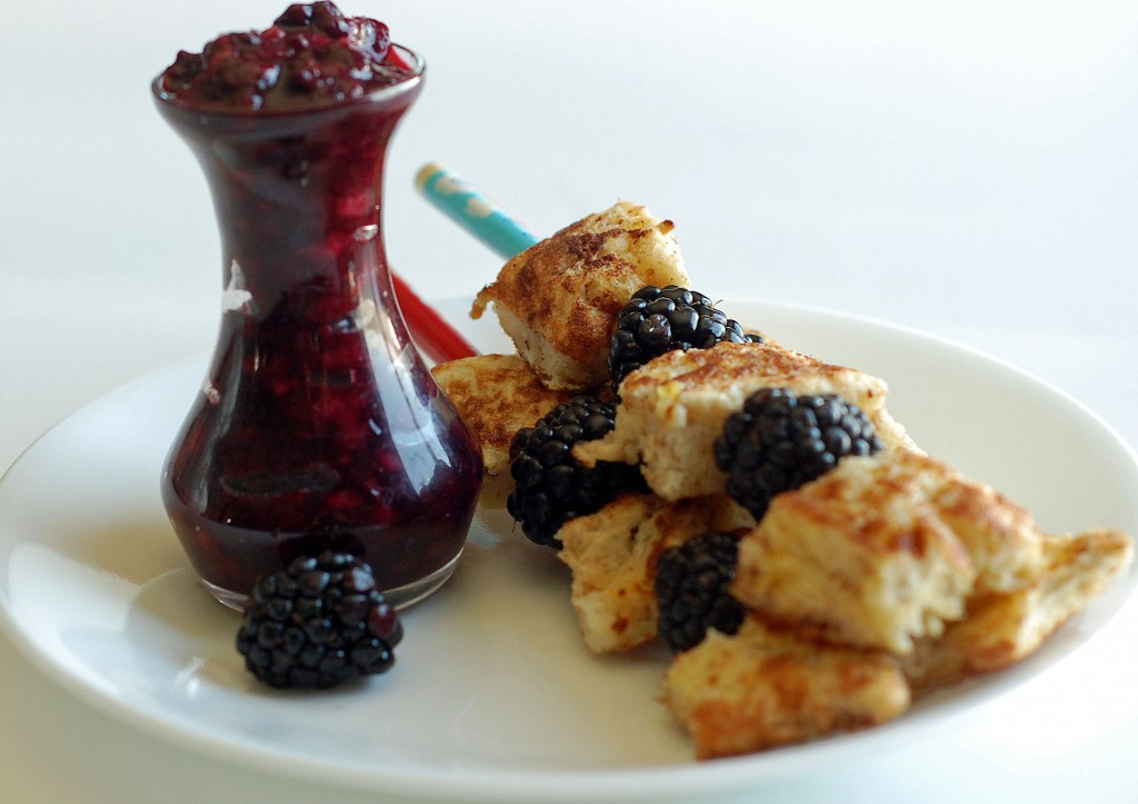french toast kabobs with berry syrup